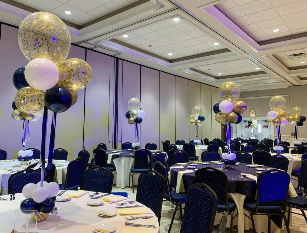 midnight blue gold and white bat mitzvah balloons