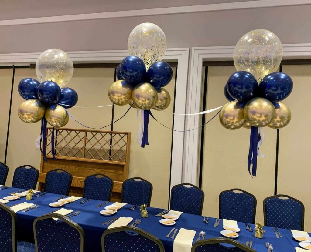 chrome gold midnight blue and gold confetti balloon table arch for prom