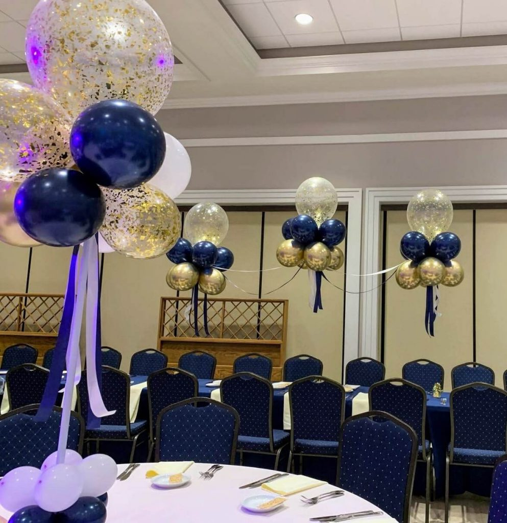 midnight blue pearl white and gold confetti balloon with silver and blue ribbon for communion
