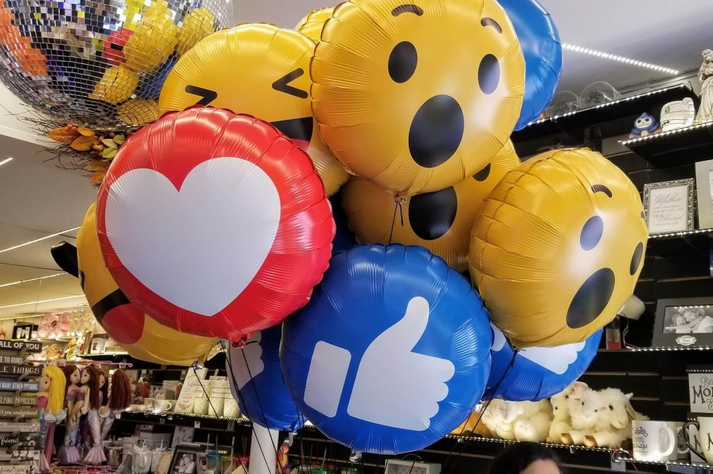 Facebook emojis print Mylar balloons bouquet in yellow red and blue colors Staten Island NY