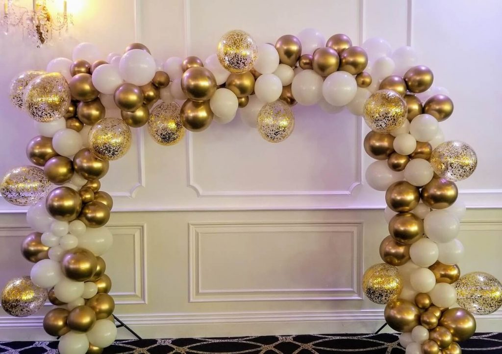 communion balloons garland arch chrome gold and white latex balloons on arch frame