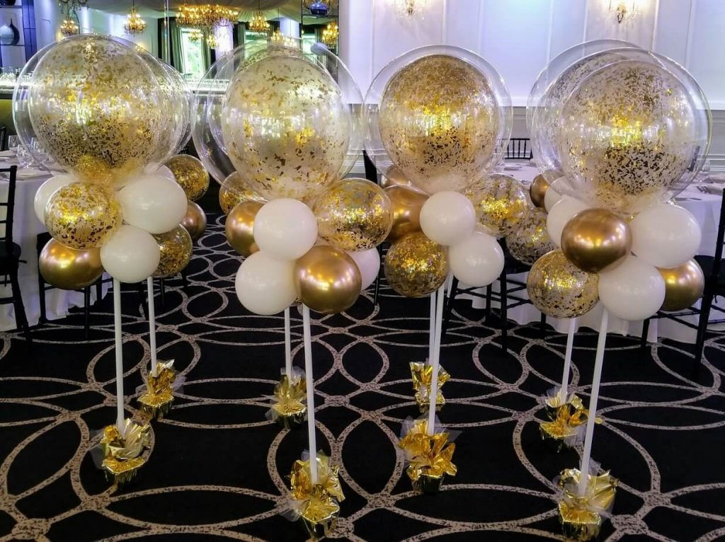 big round gold confetti balloons for baptism