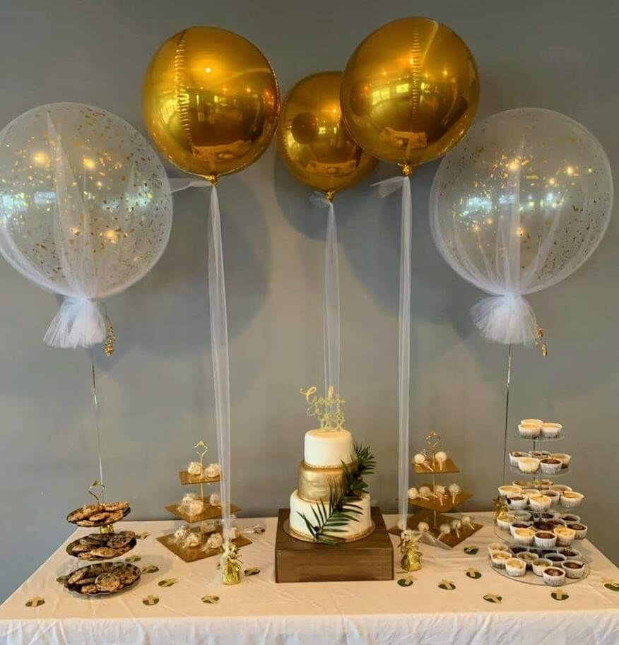 dessert table balloons for christening big round tulle gold confetti balloons with gold orbz balloons