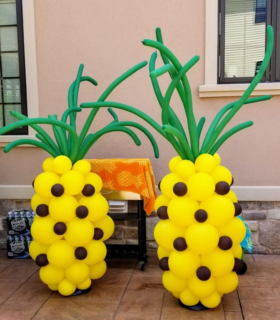 pineapple shape latex balloons in yellow green and brown latex balloons for lo a party