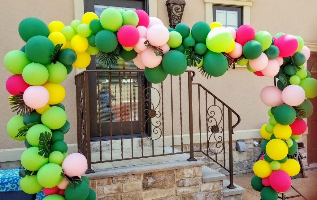 Balloons garland arch Hawaiian theme balloons