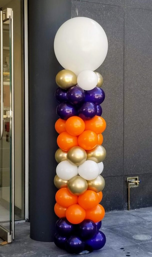 purple orange gold and white balloon pole for prom