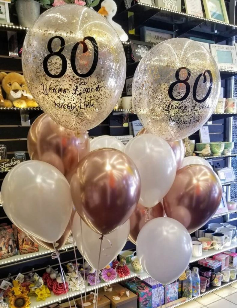 copper chrome rose gold chrome pearl white and 16 inch rose gold confetti ballon for 80th birthday party