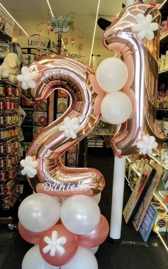 rose gold 34 inch big number mylar balloons for 21st birthday