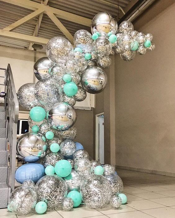 mint green silver orbz and silver confetti balloons garland arch