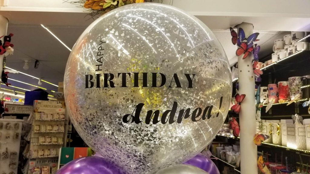round silver confetti balloon personalize happy birthday and name Brooklyn