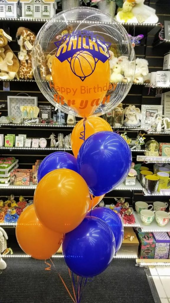 sports theme birthday balloons in orange and blue colors for birthday NJ