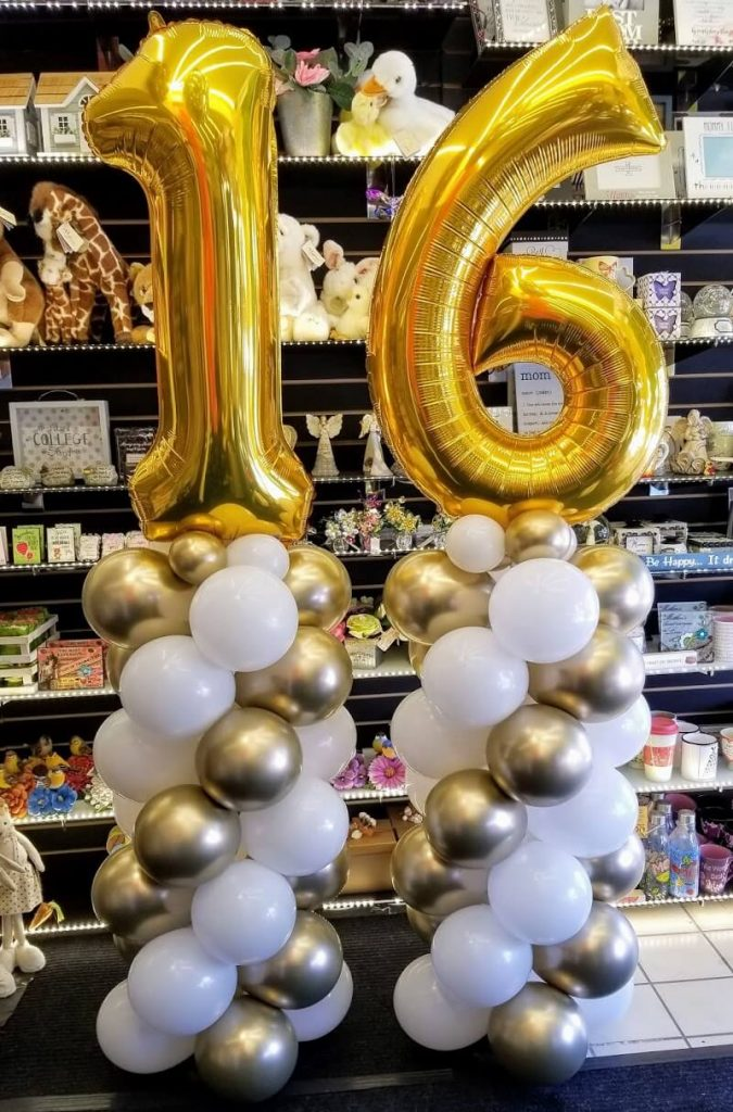 sweet 16 balloon column gold and white SI