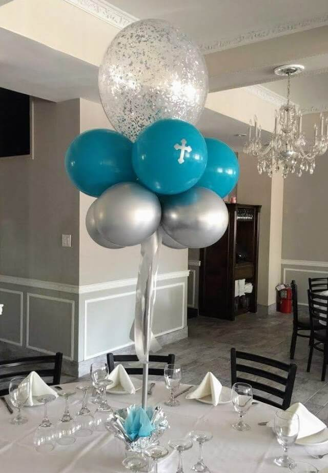 boy communion balloon centerpiece with cross balloons