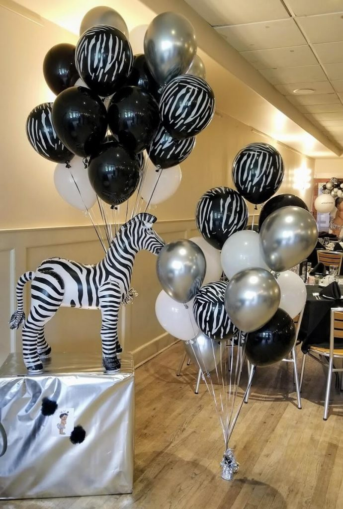 zebra balloons centerpiece with black silver white and zebra print latex balloons