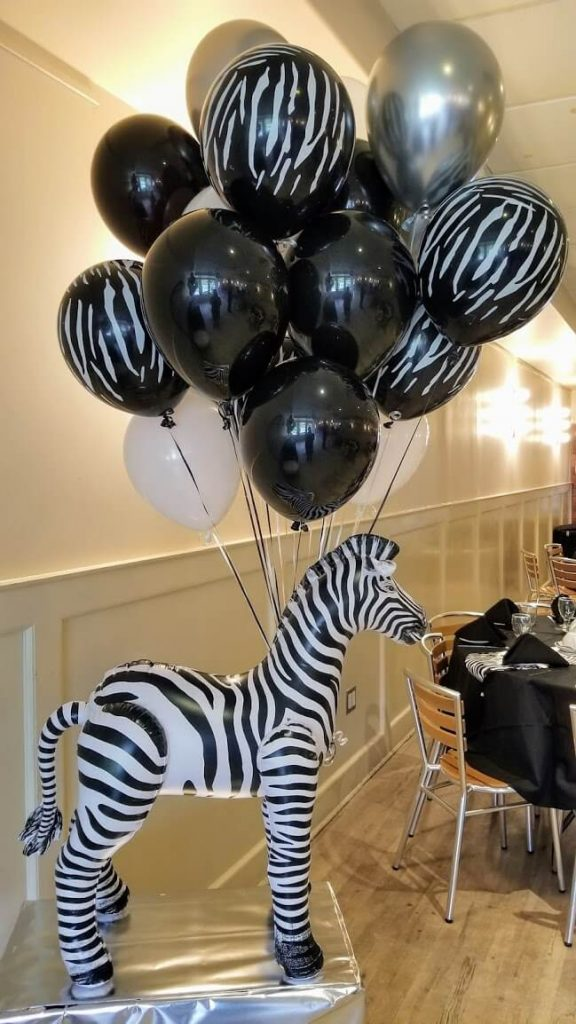 zebra stripe print balloons in black white and silver balloons for 1st birthday