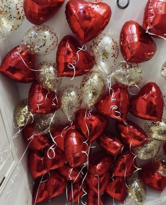Silver and red heart ceiling balloons Mylar for valentines day